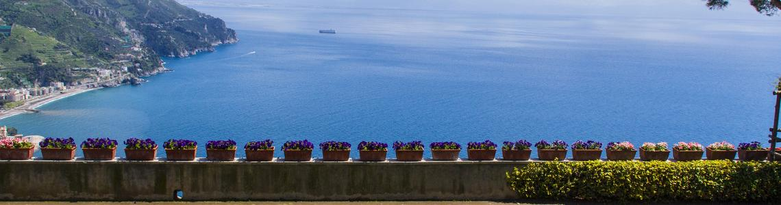 Famous Amalfi Coast view from Villa Rufolo's gardens in Ravello